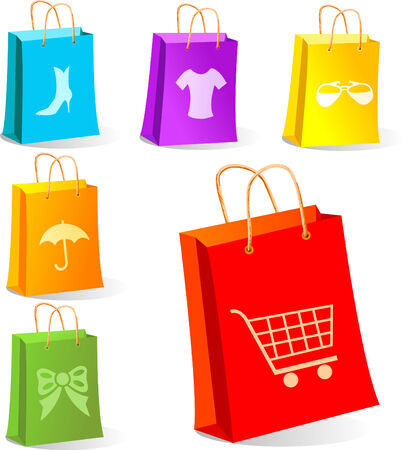 セールス ・ コンセプト、アイデアの買い物袋のイラスト。別々 のレイヤーには、主な要素