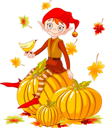 Vector illustration of cute elf sitting on pumpkin