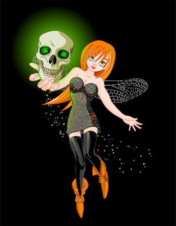 Vector illustration of a witch flaying at Halloween night with shone skull Vector