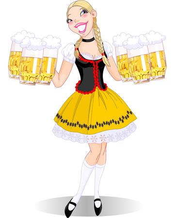 ビールを提供ドイツ ファニーガールのベクトル イラスト  イラスト・ベクター素材
