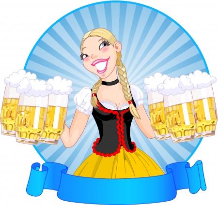 Vector illustration of funny German girl serving beer Vector