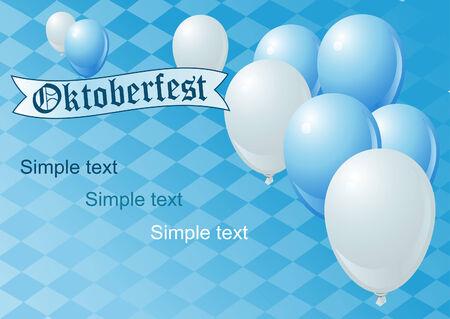 blau weiss: Vector Oktoberfest Celebration Background with Copy space. Illustration