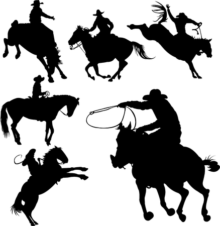 Cowboys on horses silhouettes on a white background. Stock Vector - 5451262