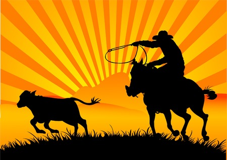 A vector silhouette of a cowboy roping a calf