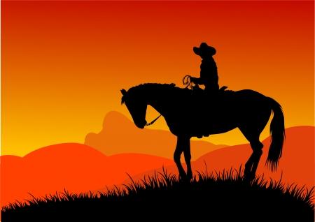 Vector silueta de vaquero que cabalga en el desierto de Ilustración de vector