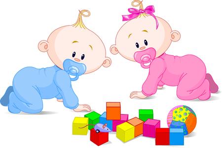 Los niños pequeños bebés gemelos (niño y niña) y los juguetes Ilustración de vector
