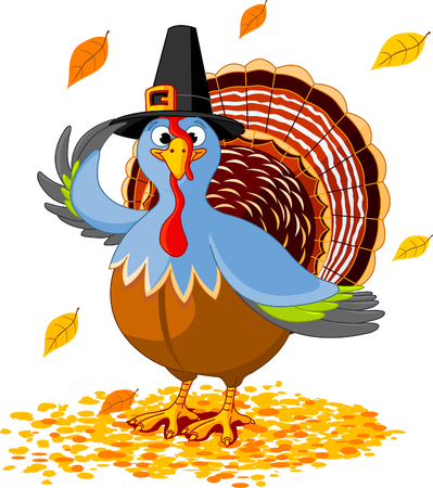 thanksgiving turkey: Illustration of a Thanksgiving turkey with pilgrim hat
