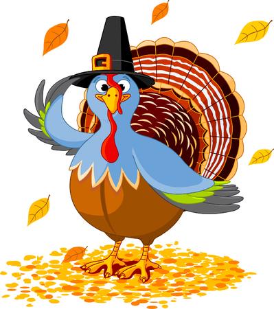 tacchino: Illustrazione di un tacchino del Ringraziamento con cappello pellegrino