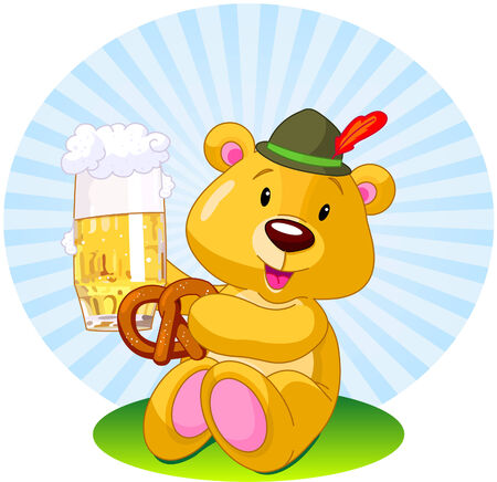 Oktoberfest  illustration of a bear holding a pint of beer and pretzel Vector
