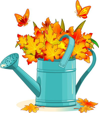 Watering can with bouquet of autumn leafs