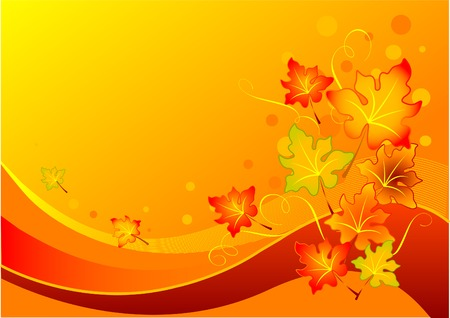 postcard background: Vector background with colorful autumn leaves