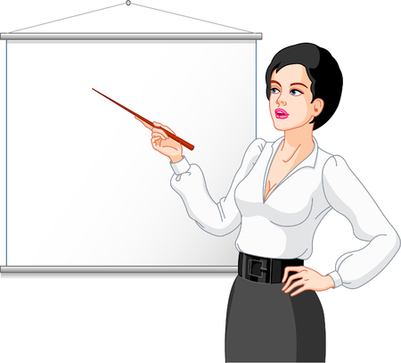 Businesswoman  presenting on a white board. Images are separated.Your product or message can be added. Stock Vector - 5471529