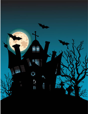 house: Haunted house on hill with spooky trees, moon and bats  Illustration