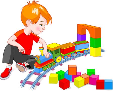 흰색 배경에 고립 된 그의 나무 열차 세트와 함께 노는 어린 소년 일러스트