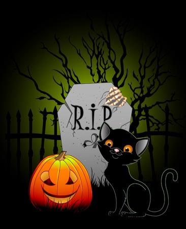 Vector illustration of Halloween night at cemetery Vector