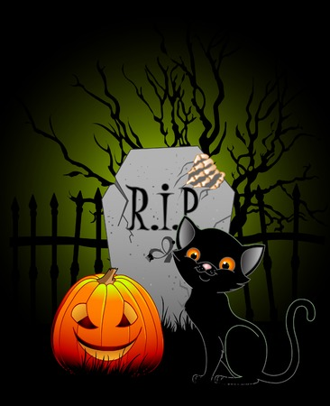 Vector illustration of Halloween night at cemetery