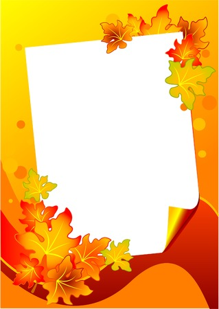 postcard background: Autumn background with Paper piece and leaves