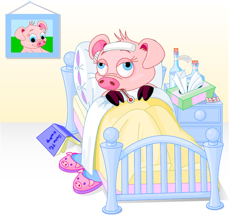 Cartoon illustration of a pig having the flu Stock Vector - 5484692