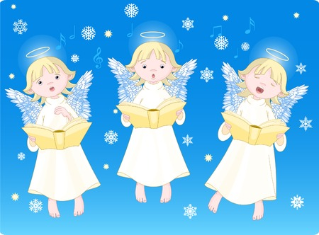 Three cute cartoon angels singing Christmas carols. Background is separate layer