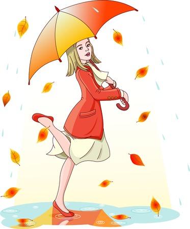 Jonge vrouw dansen in de regen onder paraplu. Lagen zijn gescheiden  Vector Illustratie
