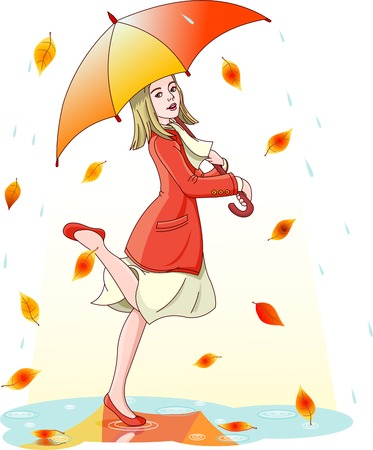 rain drop: Young woman dancing in the rain under umbrella. Layers are separated