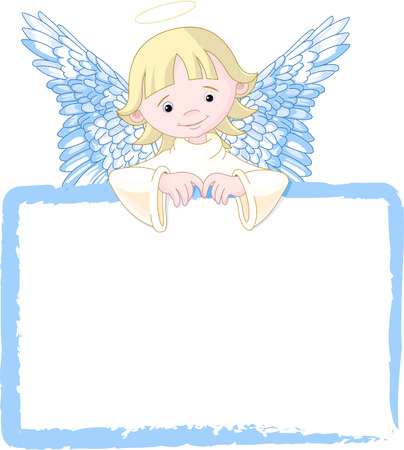 Cute Angel with a place card or invite. Stock Vector - 5484688