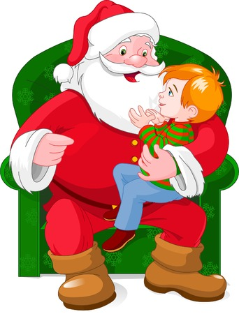 A vector illustration of a small boy sitting on Santa's knee.