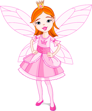 Illustration of a cute little fairy. Wings in different layer, can be removed easily when needed. Stock Vector - 5513998
