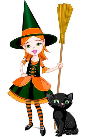 Illustration for Halloween with a little cute witch  and cat. Cat is different layer