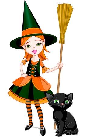 czarownica: Ilustracja do Halloween z niewielką ilością cute czarownica i kotów. Kot jest różne warstwy