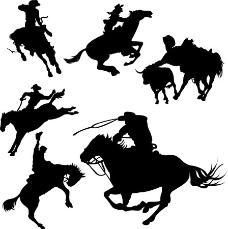 白い背景の上の馬のシルエットのカウボーイ。