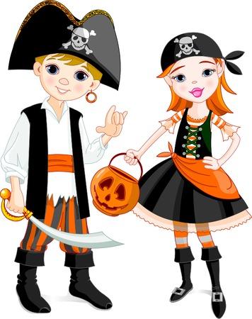 pirate skull: Dos ni�os vestidos como piratas para Halloween