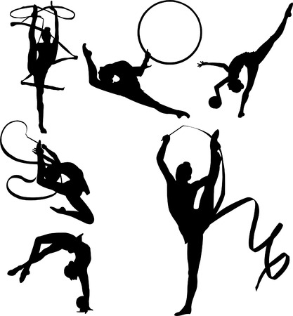 Vector silhouettes of six rhythmic gymnasts with apparatus including ribbon and ball Vector