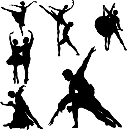 ballet cl�sico: Set de siluetas de bailarines de ballet. Vector illustration