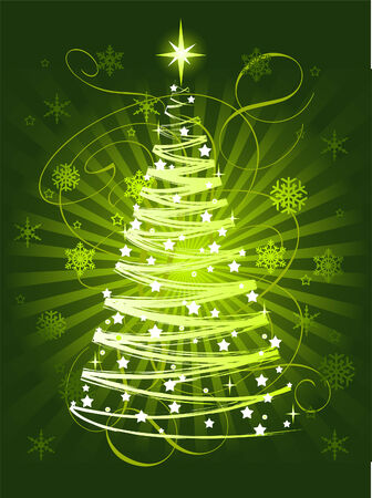 Green Christmas tree on abstract background