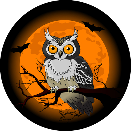 Owl sitting upon a tree branch with a large moon rising in the background Vettoriali