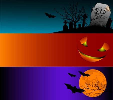 brown background: A collection of Halloween banners.