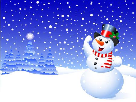 落ちてくる雪の結晶の中の冬のシーンの雪だるま