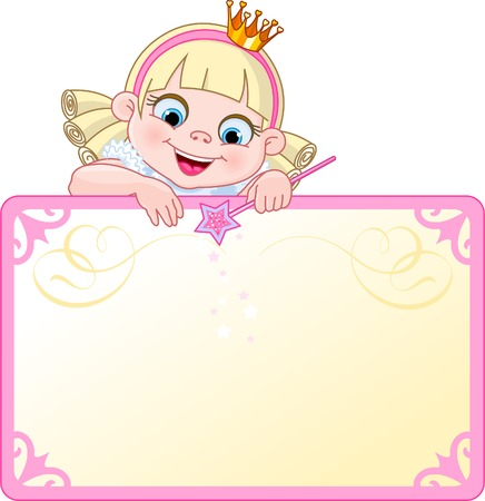 diadem: Cute  Princess character on a place card or invite. Ideal for little girls parties and promotions.