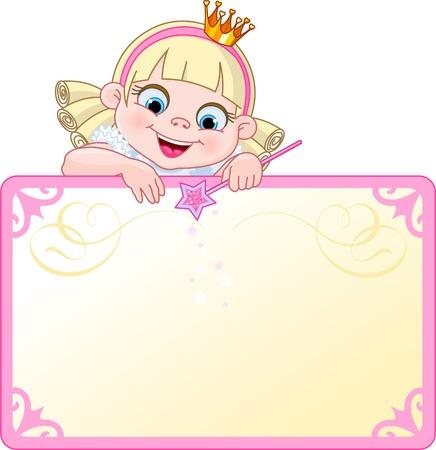 Cute prinses teken op een kaart van plaats of uitnodigen. Ideaal voor kleine meisjes partijen en promoties.