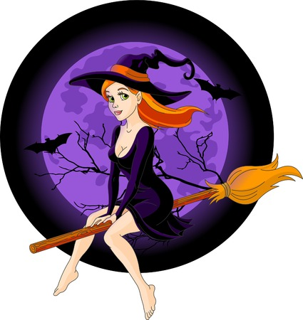 Sexy witch riding a broom with a large moon rising in the background Vector