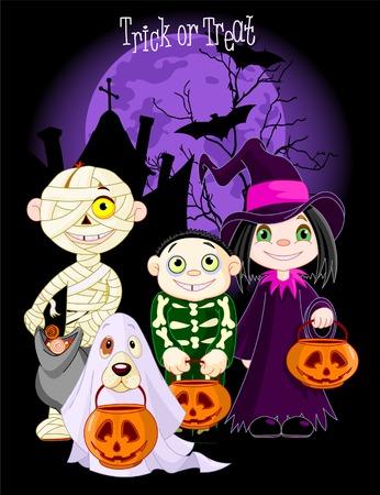 Een groep schattige kinderen en hond, verkleed om te fantaseren of te behandelen op Halloween-avond. Alle tekens op afzonderlijke lagen Stock Illustratie