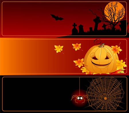 A collection of Halloween banners Vector