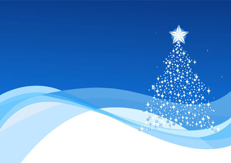 Blue Christmas background with Christmas tree