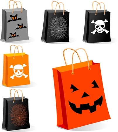 halloween spider: Halloween Shopping bags illustration for sales concepts and ideas.  Main elements are on separate layers
