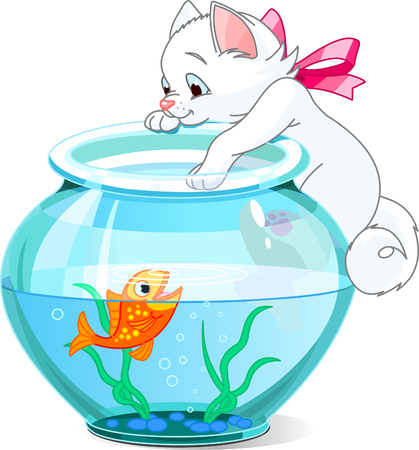 A vector illustration of a cute kitten tries to catch gold fish Ilustrace