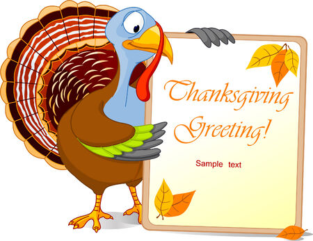 Illustration of a Turkey Thanksgiving Holiday Note