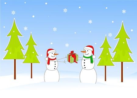 Snowman giving Christmas gift to snowwomen Stock Vector - 5586365