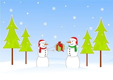 Snowman giving Christmas gift to snowwomen Stock Vector - 5586365