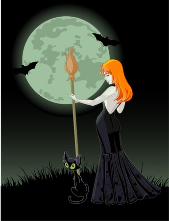 Beautiful Halloween witch holding a broom. Full moon in  background. All objects on separate layers Ilustracja